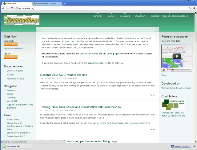 Browser pop-up windows | GenomeView